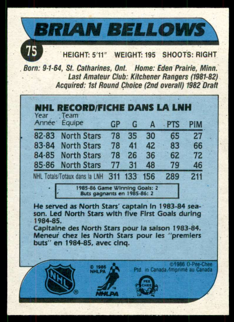 1986-87 OPC Brian Bellows #75 card back image