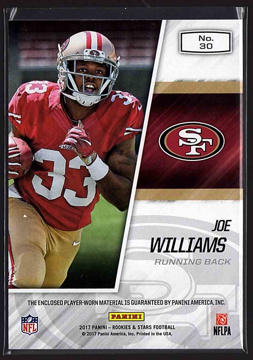 2017 Rookies And Stars Year One Jerseys Joe Williams #30 card back image