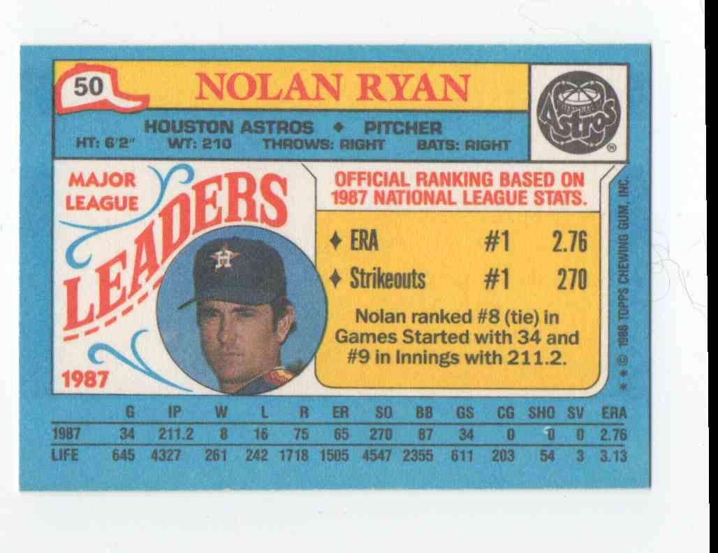 1988 Topps Mini Leaders Nolan Ryan #50 card back image