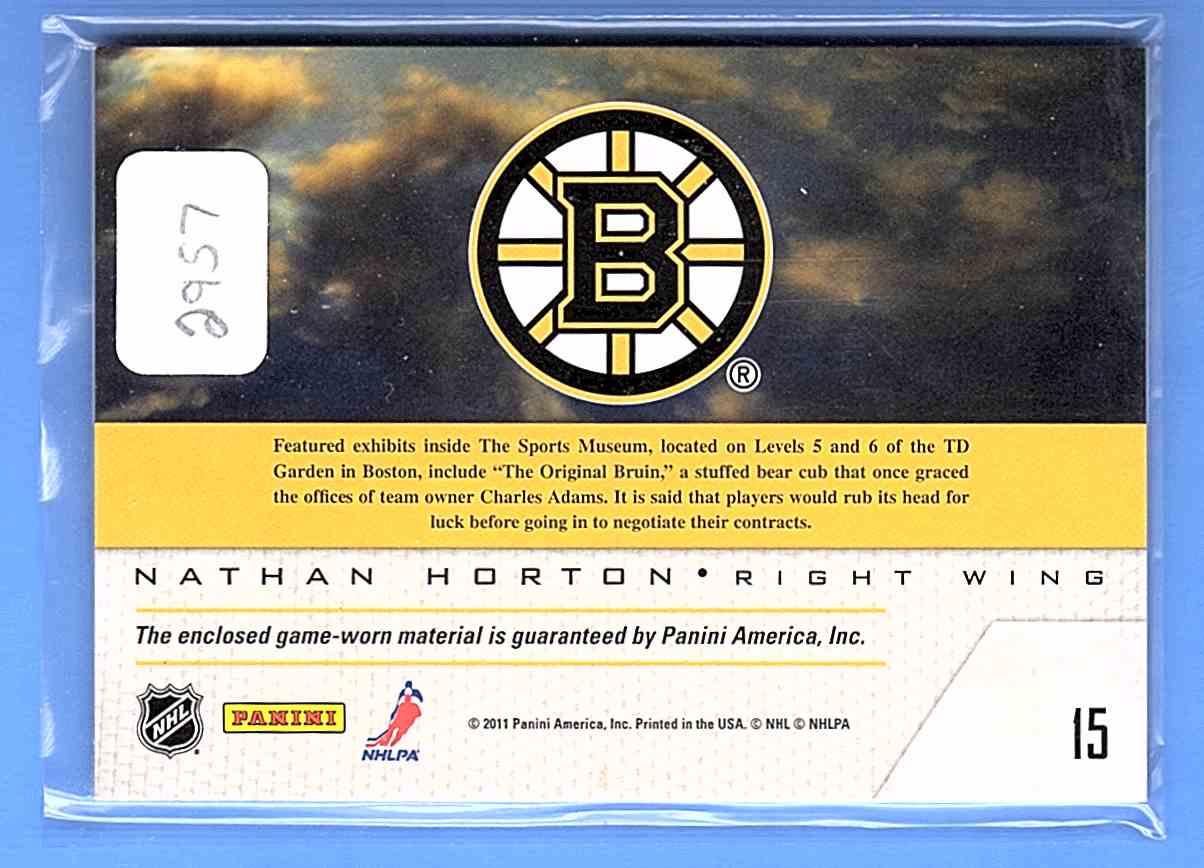 2011-12 Pinnacle Game Night Materials Nathan Horton #15 card back image