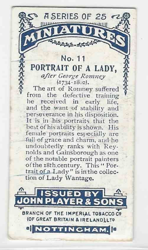 1923 Player's Miniatures Portait Of A Lady #11 card back image