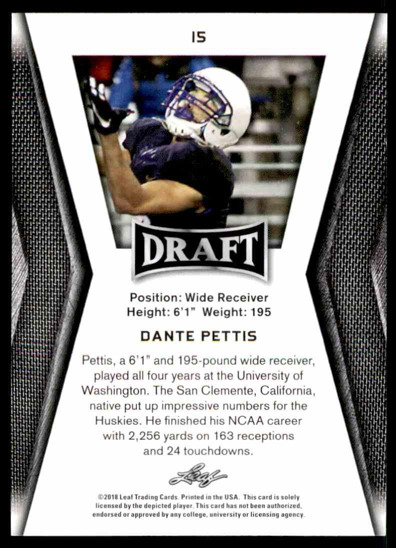 2018 Leaf Draft Dante Pettis #15 card back image