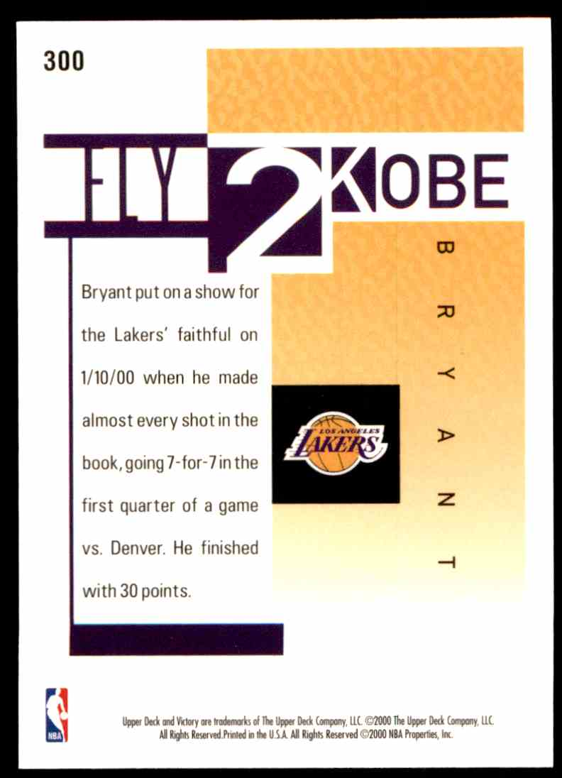 2000-01 Upper Deck Victory Kobe Bryant #300 card front image