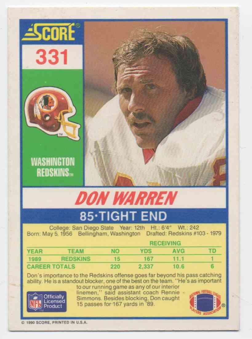 1990 Score Don Warren #331 card back image
