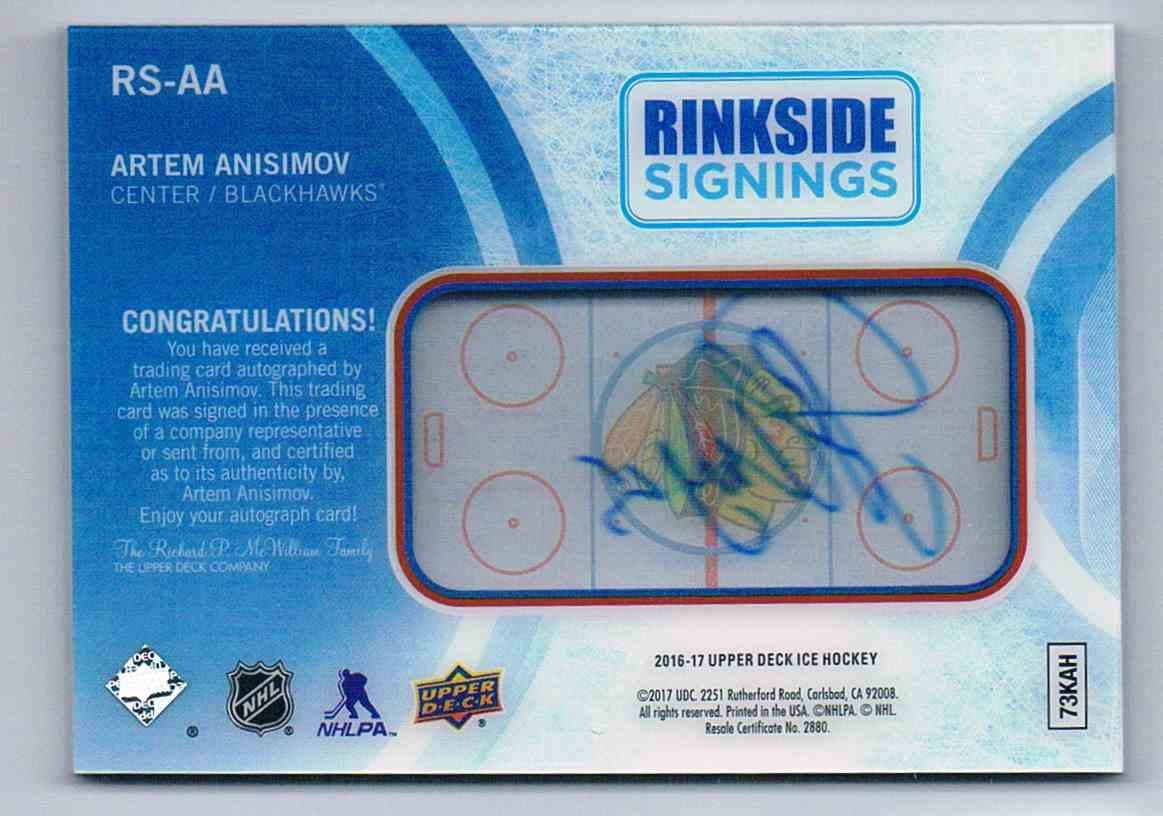 2016-17 Upper Deck Ice Rinkside Signings Artem Anisimov #RS-AA card back image