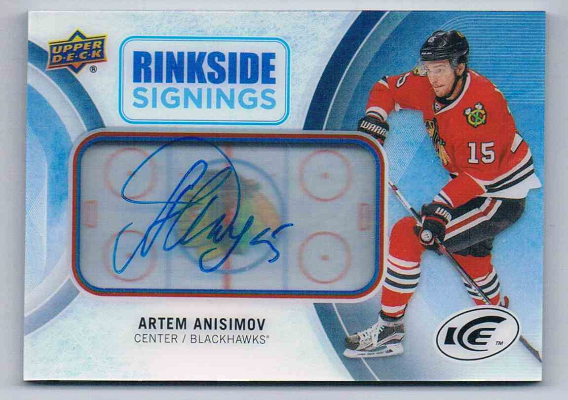 2016-17 Upper Deck Ice Rinkside Signings Artem Anisimov #RS-AA card front image