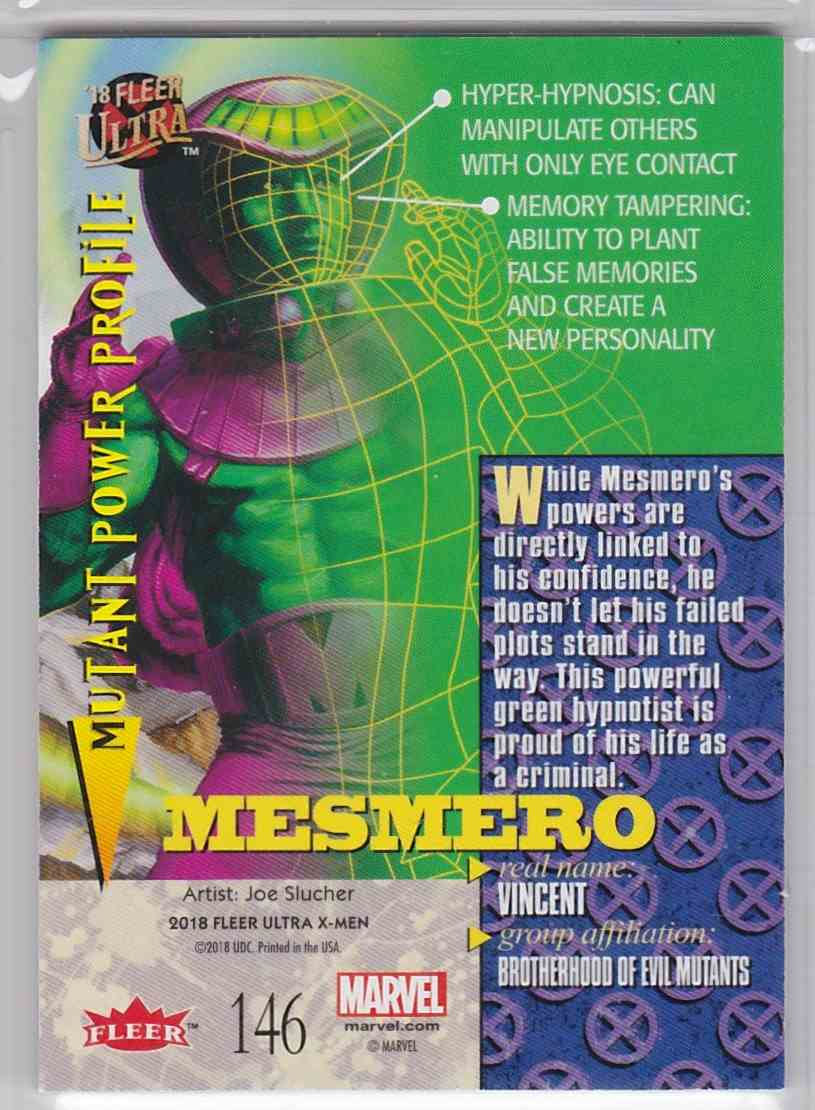 2018 Fleer Ultra X-Men Silver Foil Stamp Mesmero #146 card back image