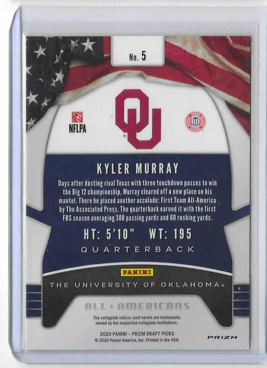 2020 Panini Prizm Draft Picks Blue Kyler Murray #5 card back image