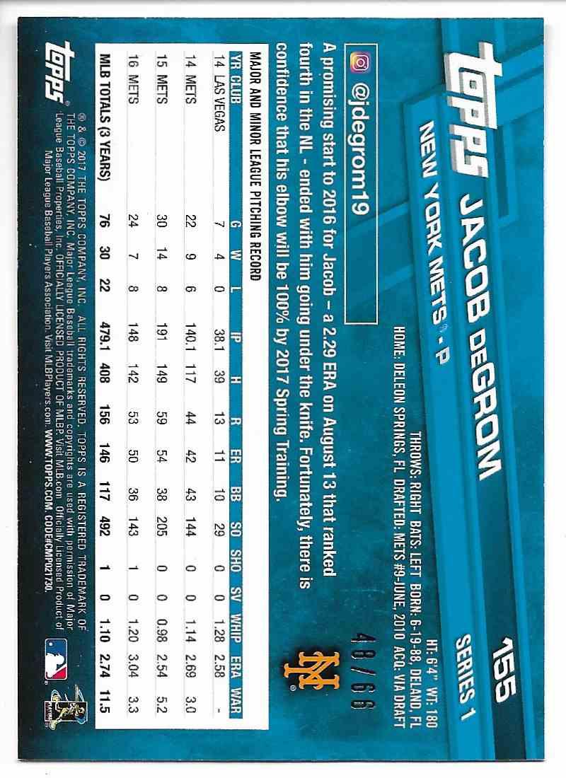 2017 Topps Jacob Degrom #155 card back image