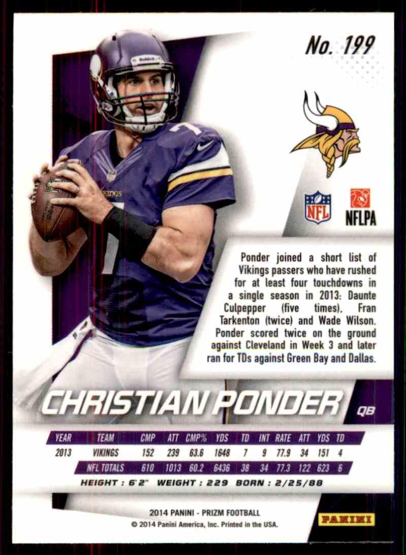 2014 Prizm Christian Ponder #199 card back image