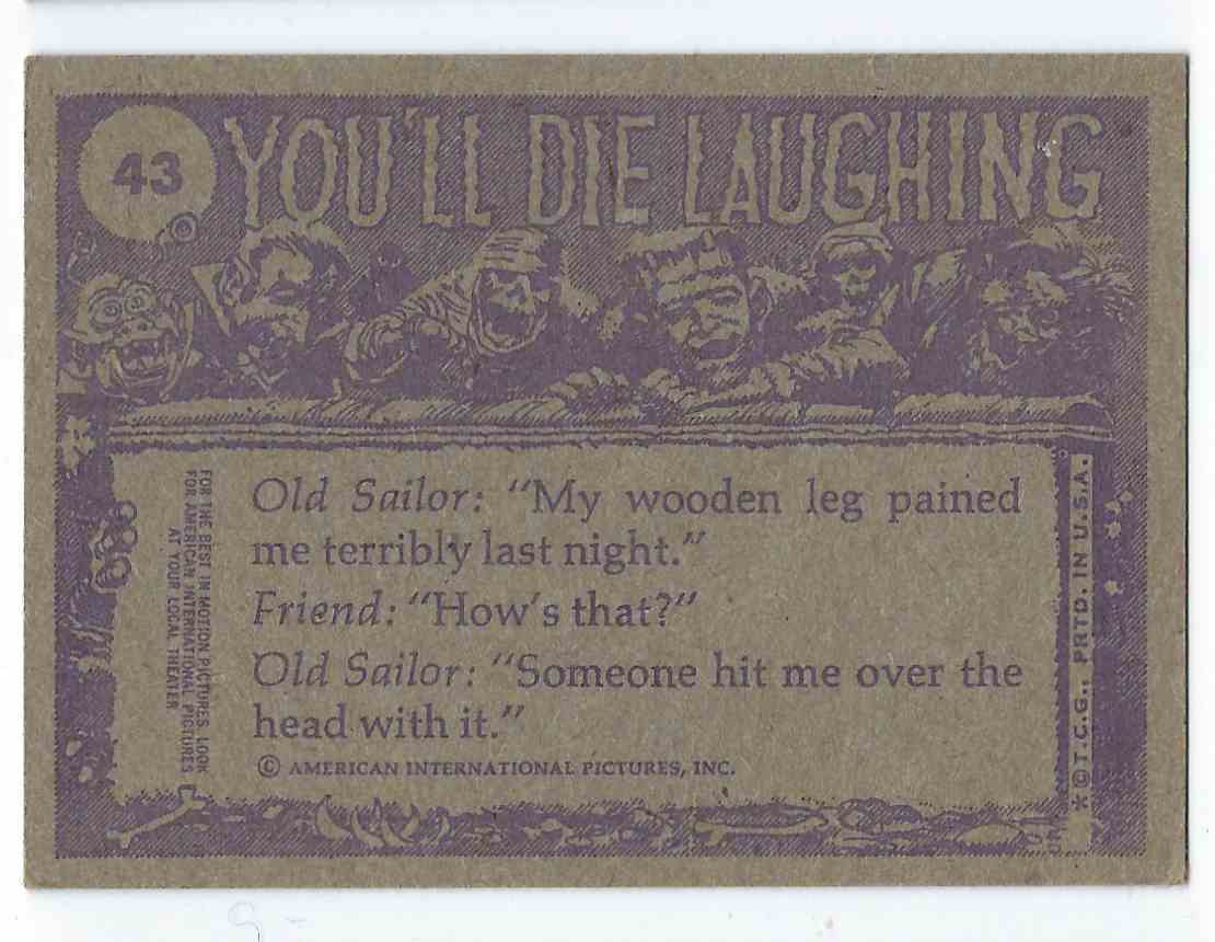 1973 Topps You'll Die Laughing Ho Hum...Must Have Overslept! #43 card back image