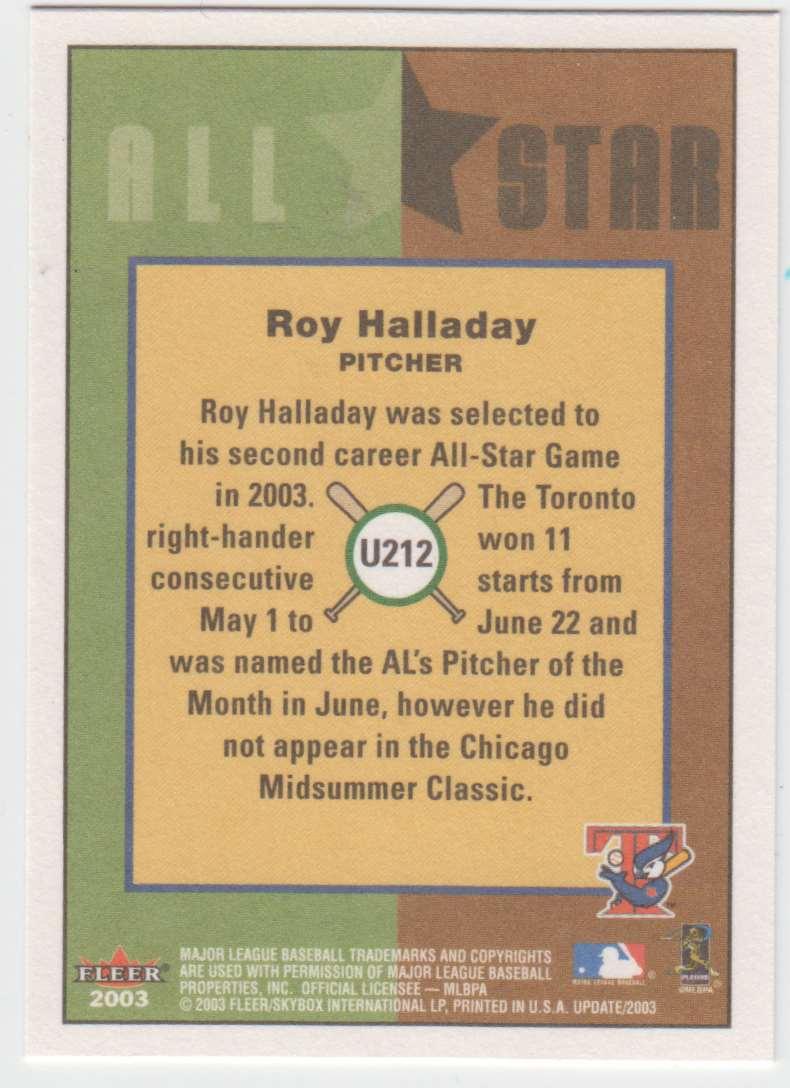 2003 Fleer Tradition Update Roy Halladay #U212 card back image