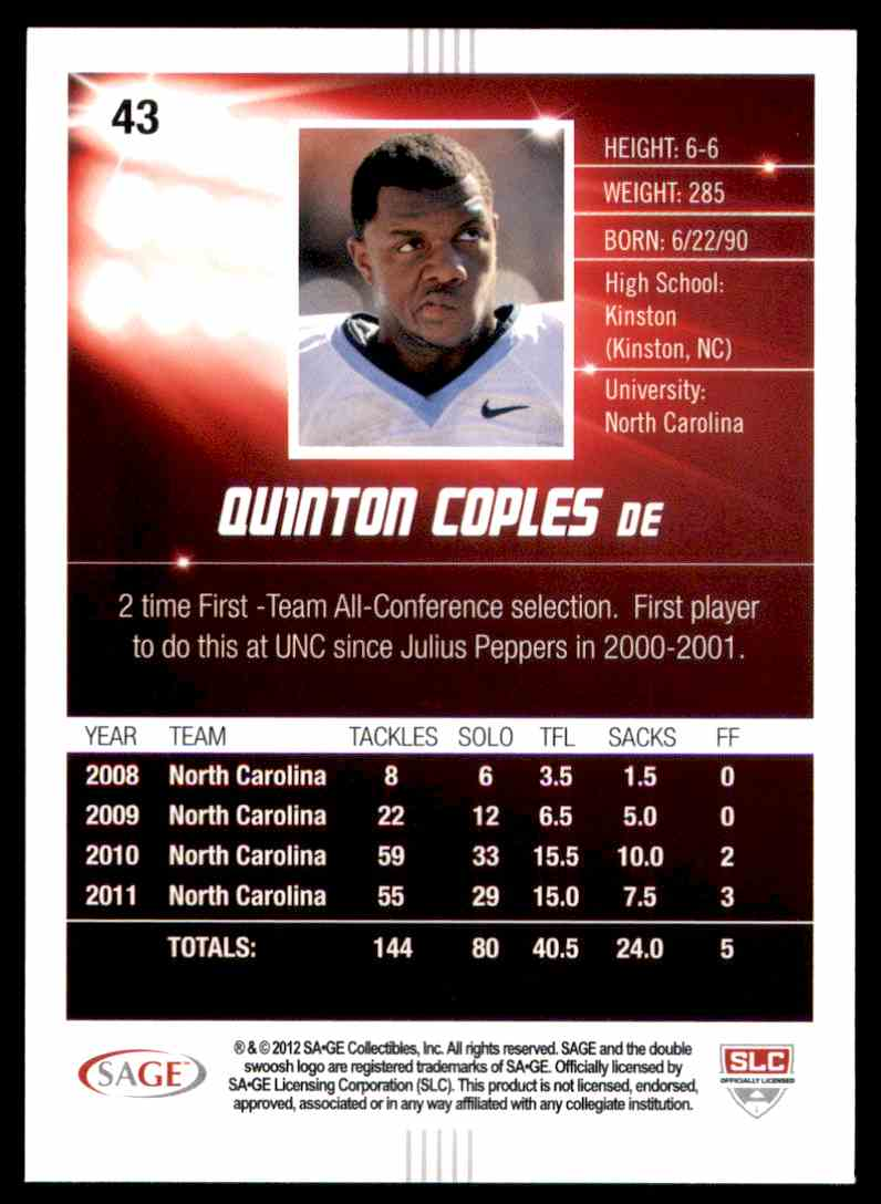 2012 Sage Hit Quinton Coples #43 card back image