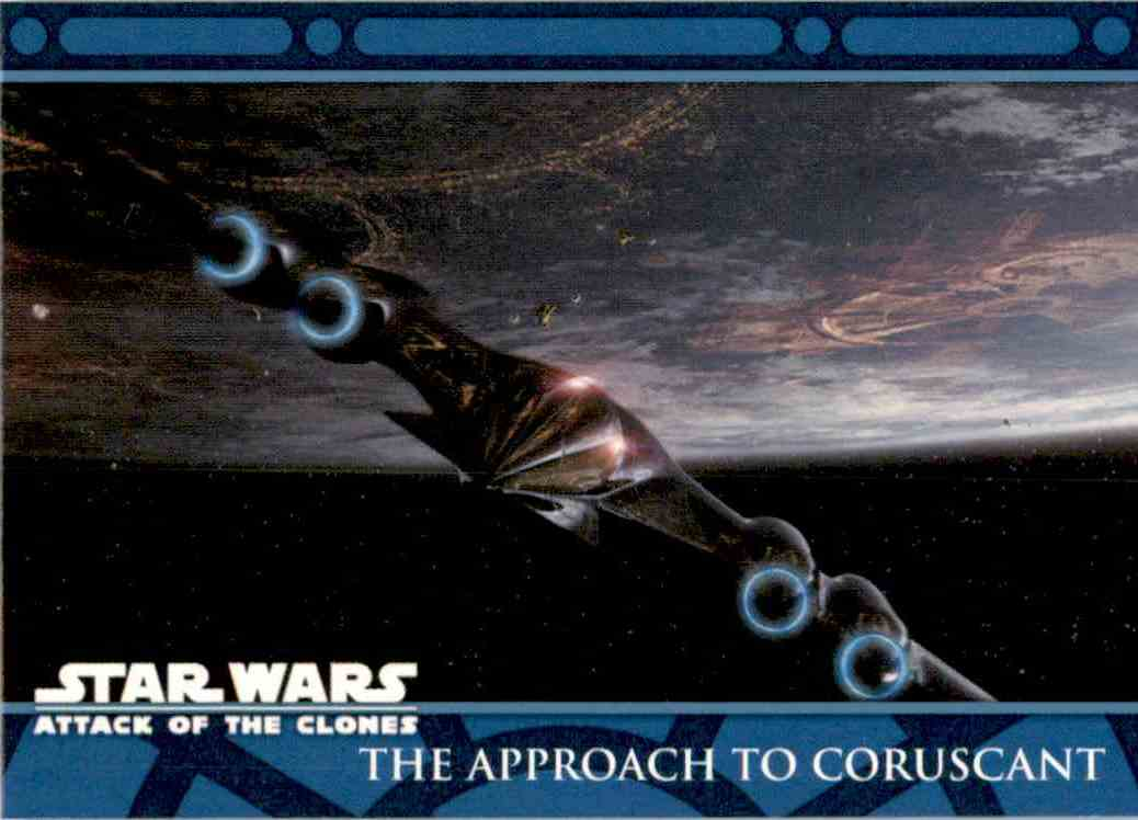 2002 Star Wars Attack Of The Clones Uk The Approach To Coruscant #2 card front image