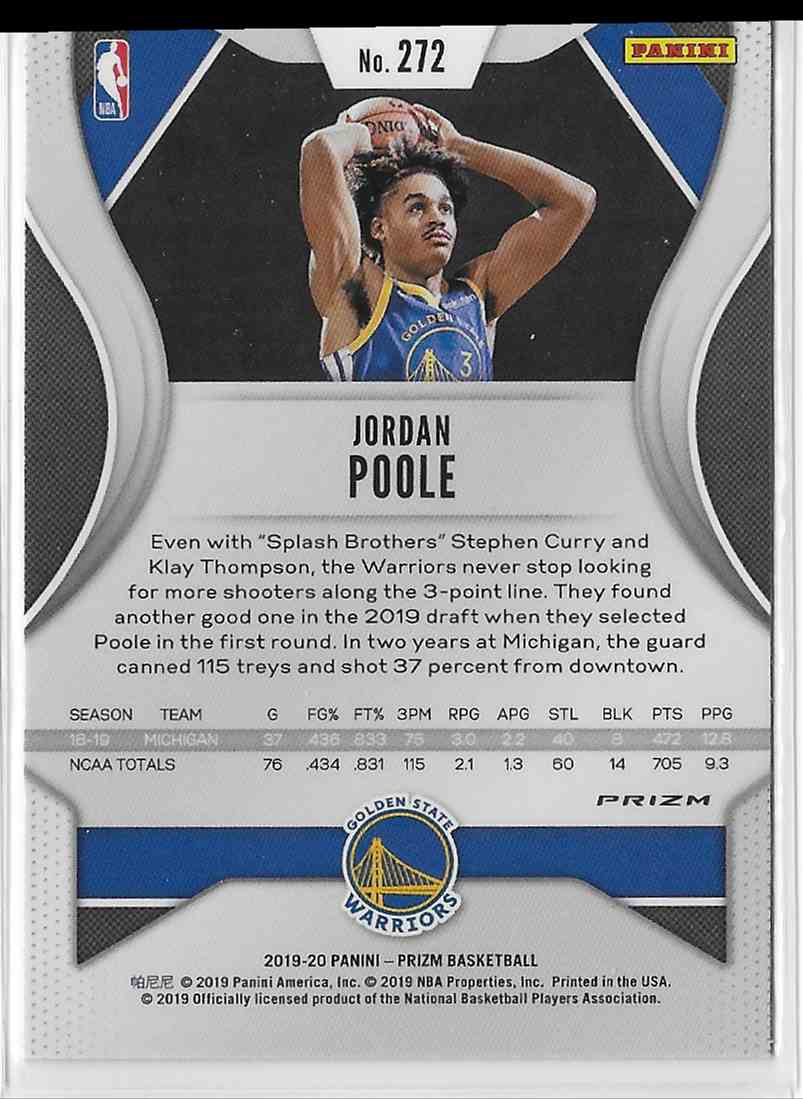 2019-20 Panini Prizm Orange Cracked Ice Prizm Jordan Poole #272 card back image