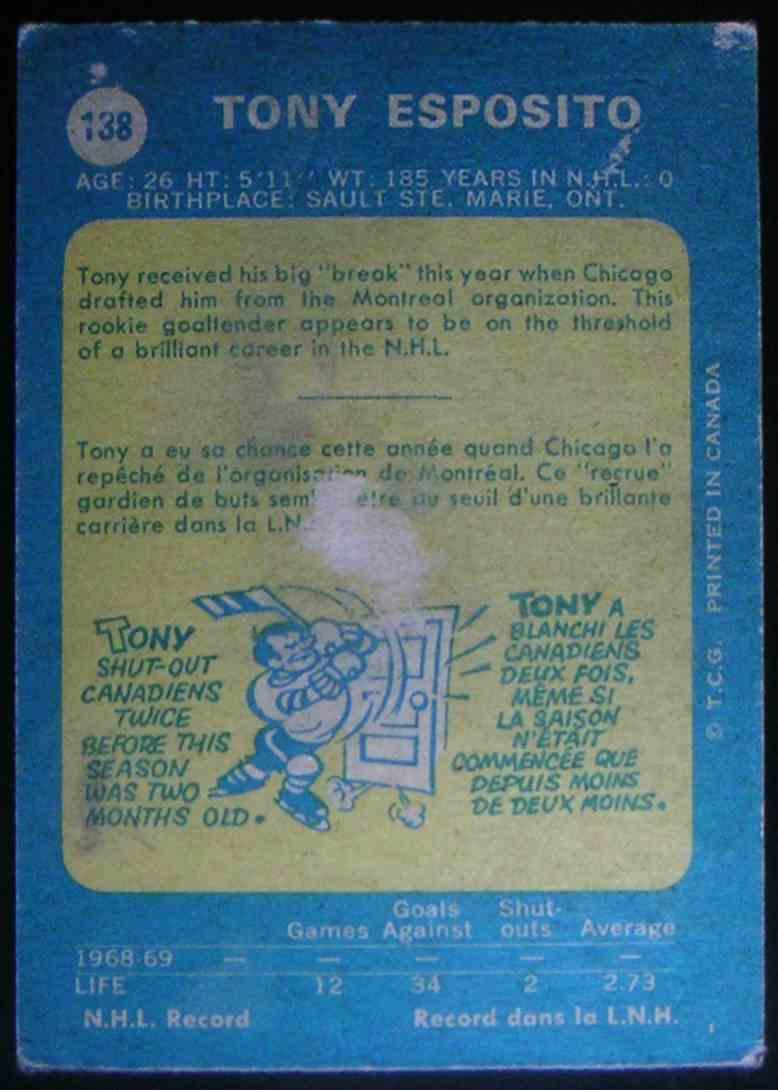 1969-70 O-Pee-Chee Tony Esposito #138 card back image