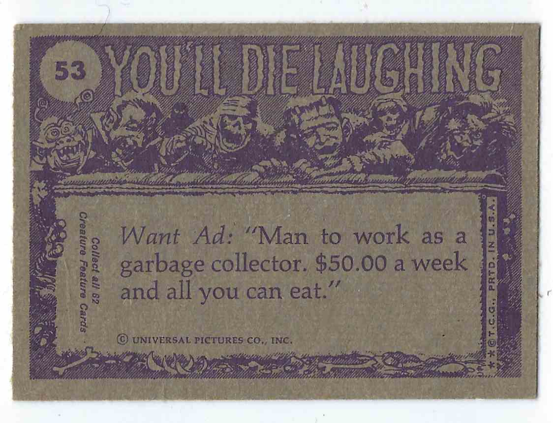 1973 Topps You'll Die Laughing I Can't Understand Why Girls Don't Like Me! #53 card back image