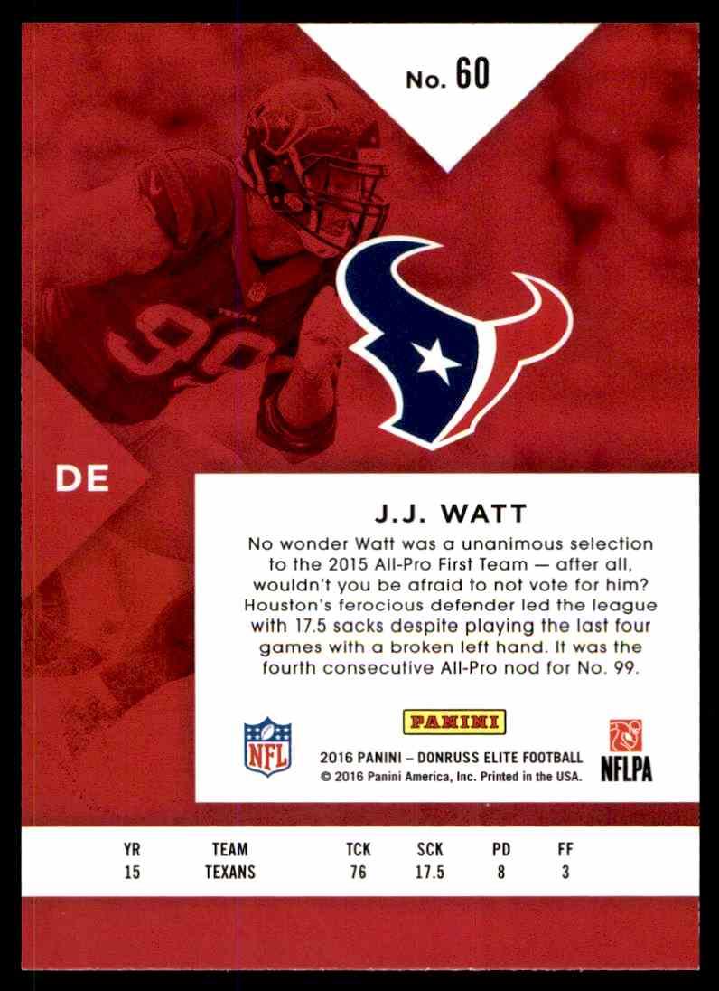 Football Card Verzamelingen 2016 Donruss Elite Black #60 JJ Watt Houston Texans J.J
