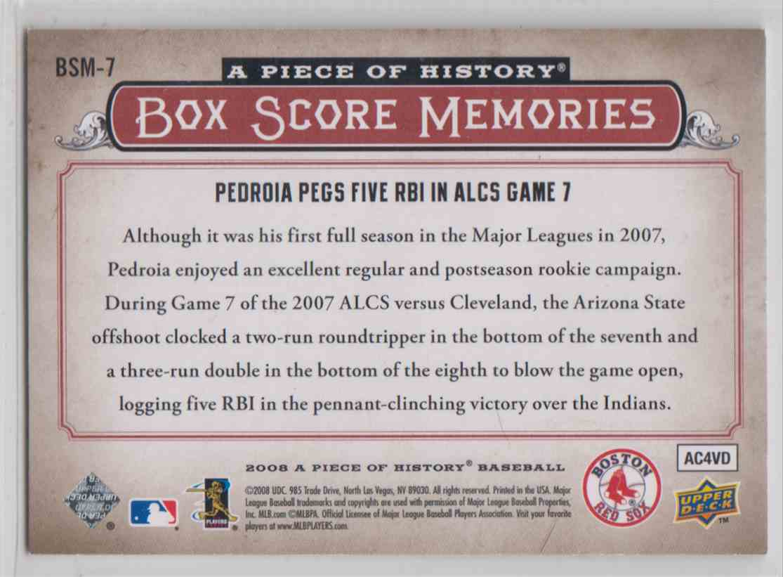2008 Upper Deck A Piece Of History Box Score Memories Red Dustin Pedroia #BSM-7 card back image