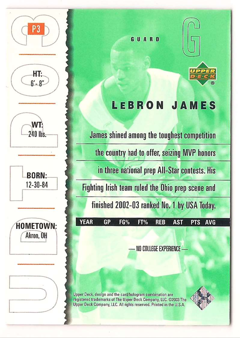 2003-04 Upper Deck Top Prospects Lebron James Promo Card #P3 card back image