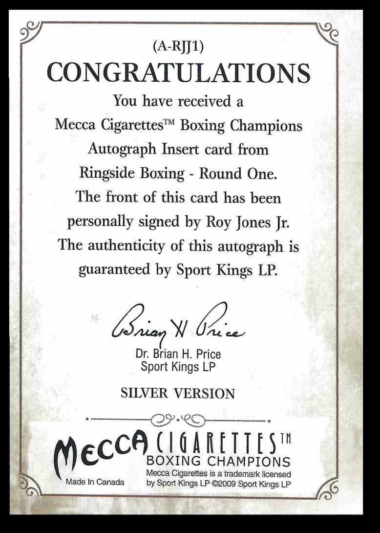 2009 Mecca Sports Kings Silver Roy Jones JR. #ARJJ1 card back image