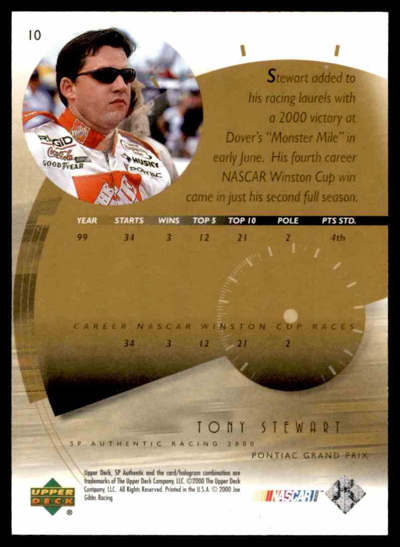 2000 SP Authentic Tony Stewart #10 card back image