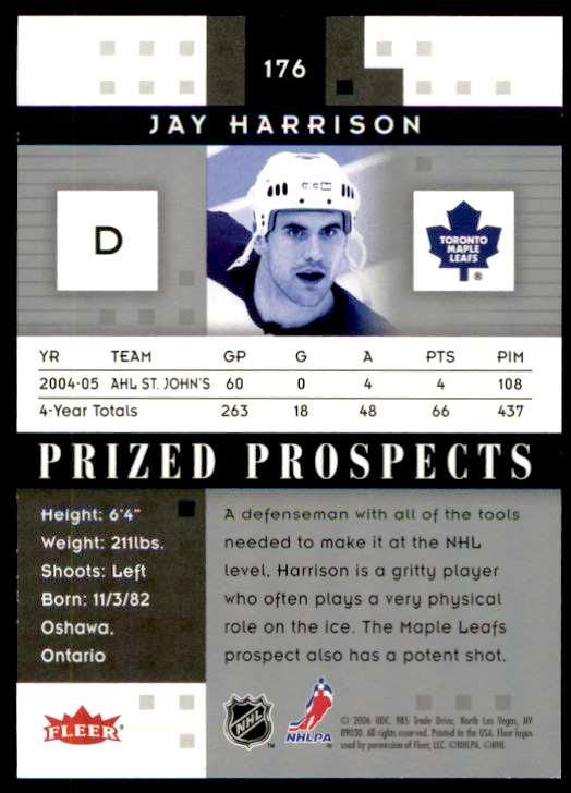 2006-07 Fleer Hot Prospects Jay Harrison #176 card back image