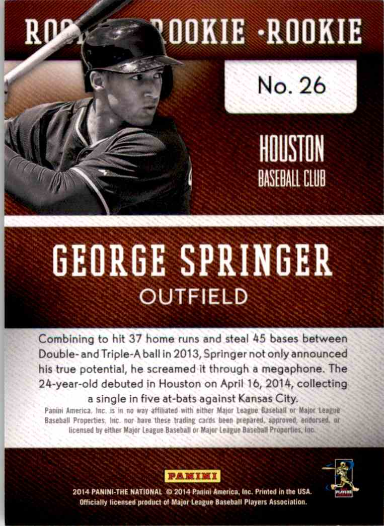 2014 Panini National Convention Cracked Ice George Springer Bb #26 card back image