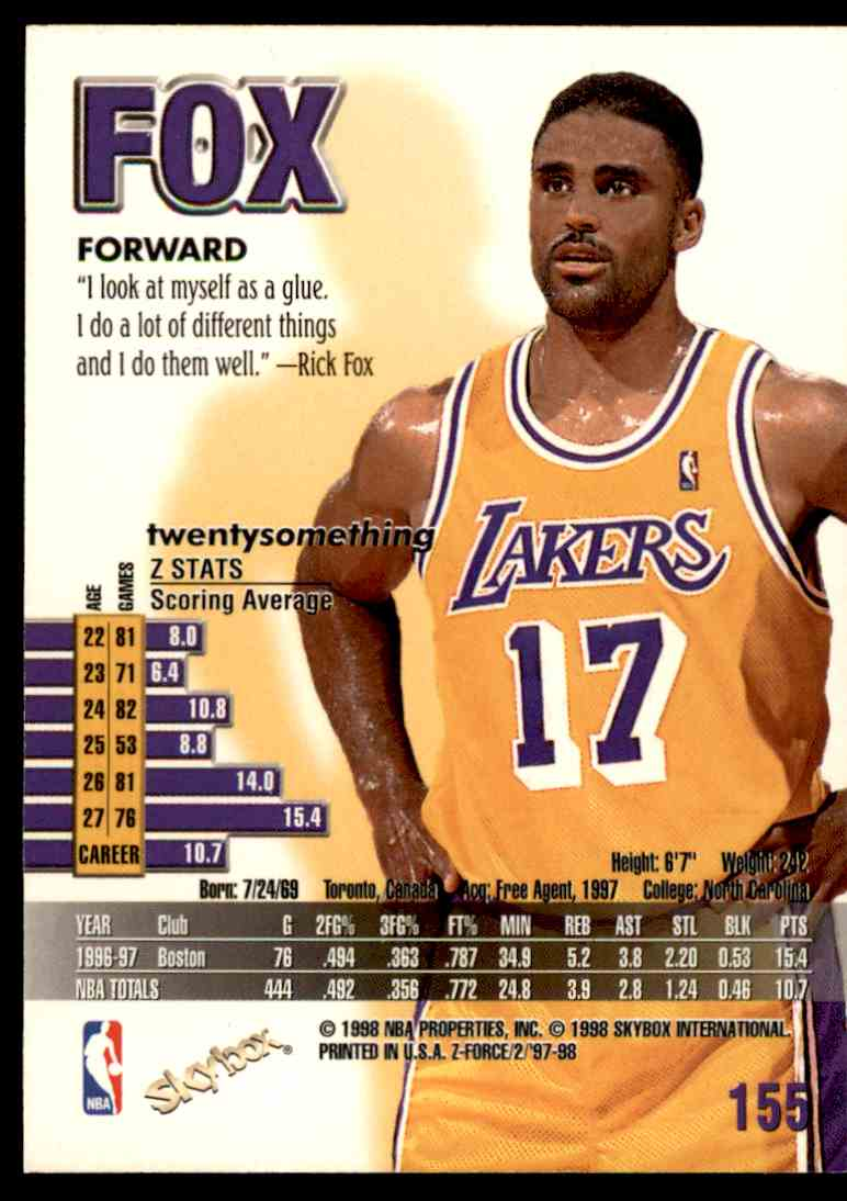 1997-98 Skybox Z Force Rick Fox #155 card back image
