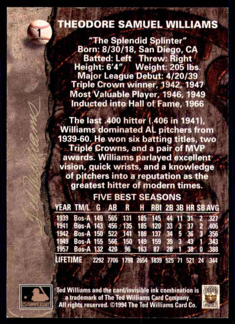 1994 Ted Williams Vada Pinson #1 card back image