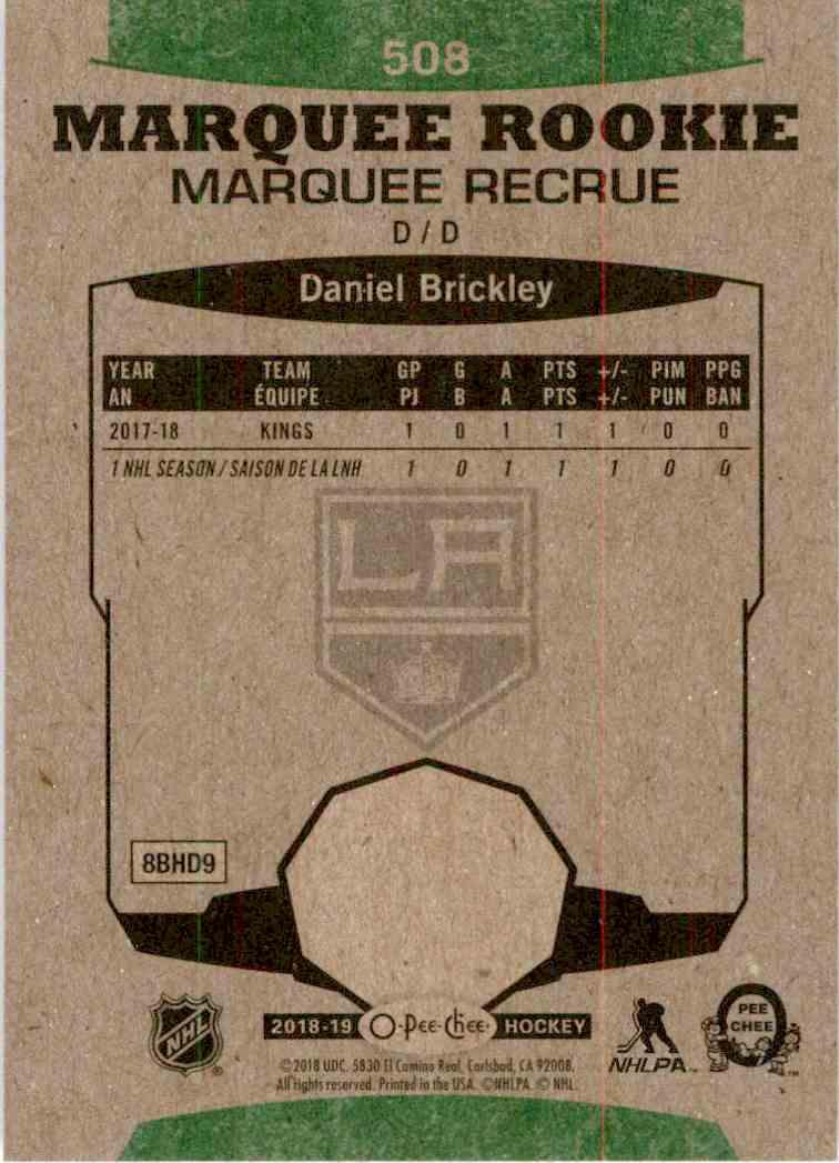 2018-19 O-Pee-Chee Marquee Rookie Retro Daniel Brickley #508 card back image