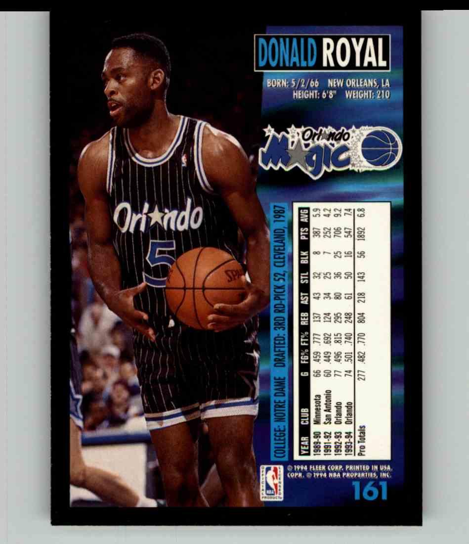 1994-95 Fleer Donald Royal #161 card back image
