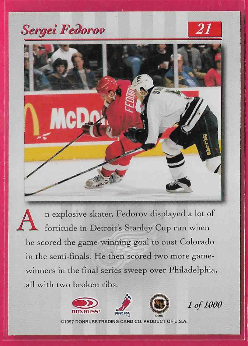 1997-98 Donruss Studio Silver Press Proof Sergei Fedorov #21 card back image