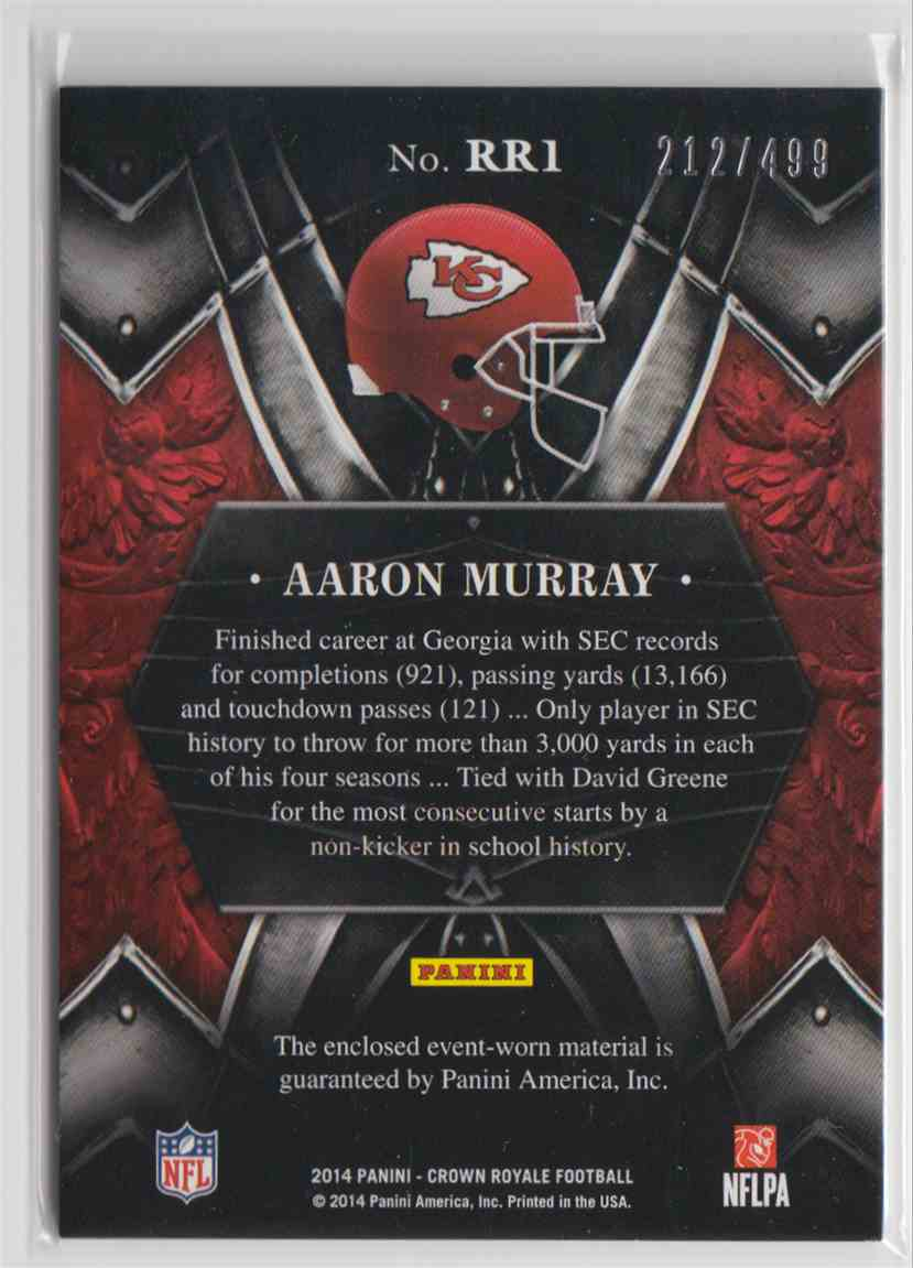 2014 Panini Crown Royale Rookie Royalty Aaron Murray #RR1 card back image