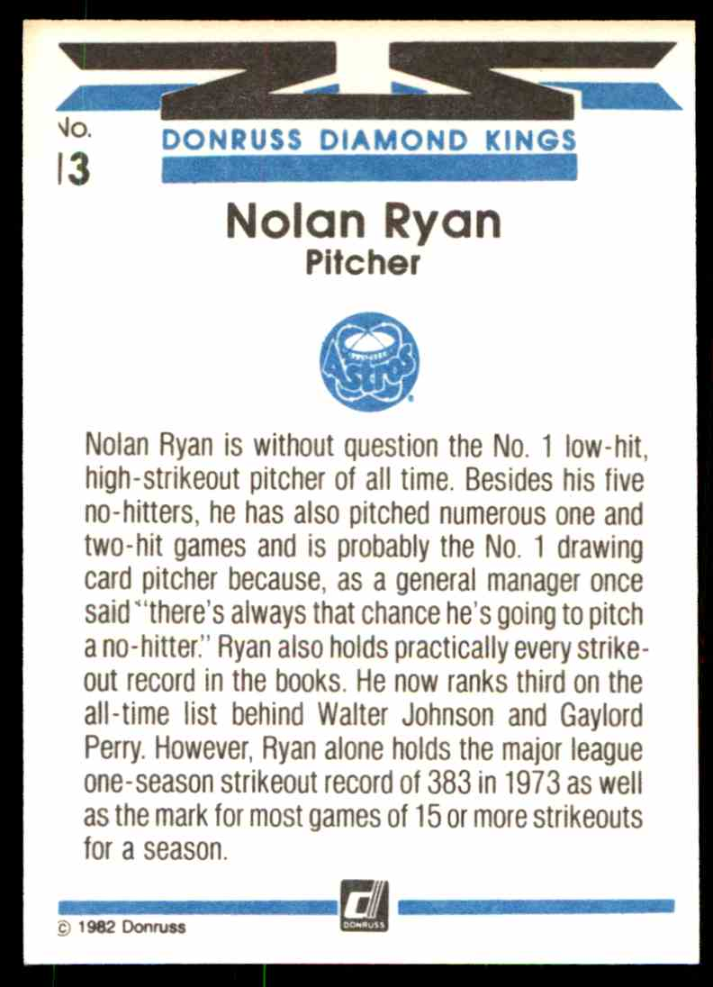 1983 Donruss Nolan Ryan #13 card back image