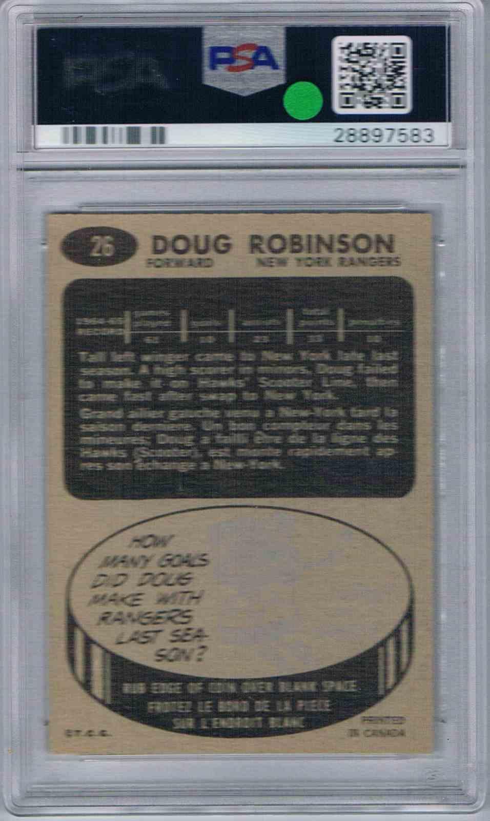 1965-66 Topps Doug Robinson #26 card back image