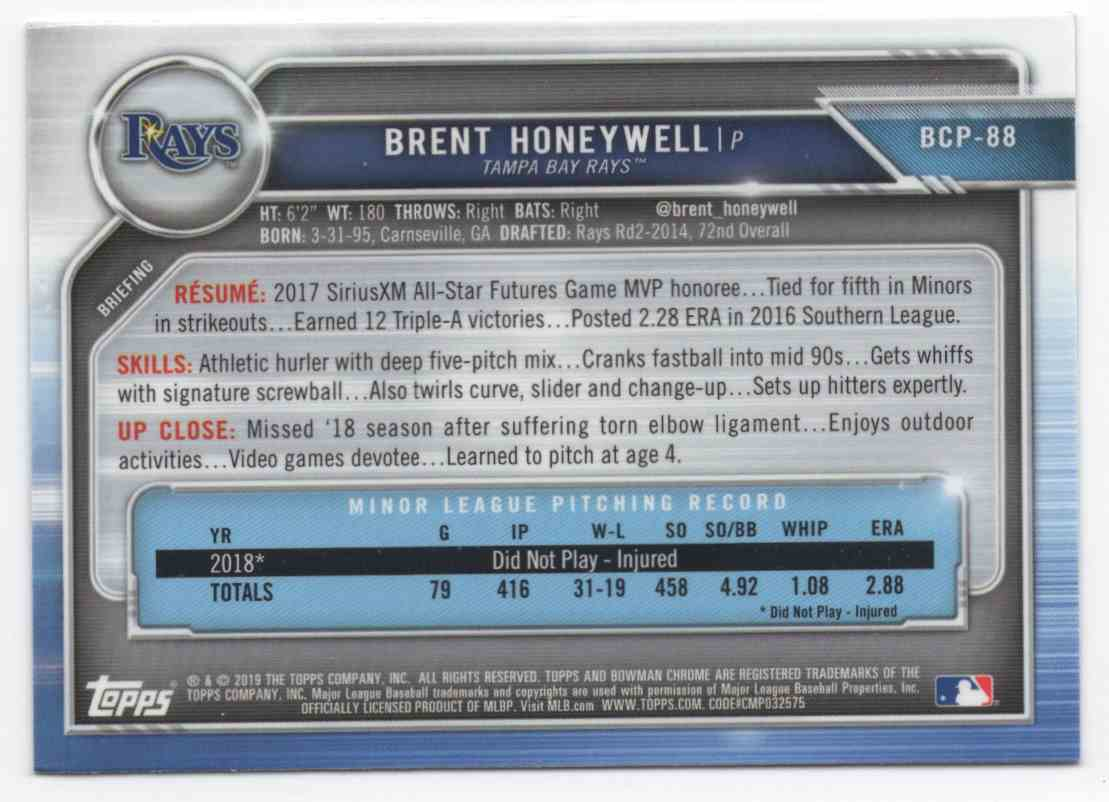 2019 Bowman Chrome Prospects Brent Honeywell #BCP88 card back image