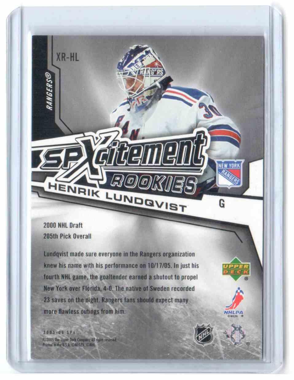 2005-06 SPx Xcitement Rookies Henrik Lundqvist #XR-HL card back image