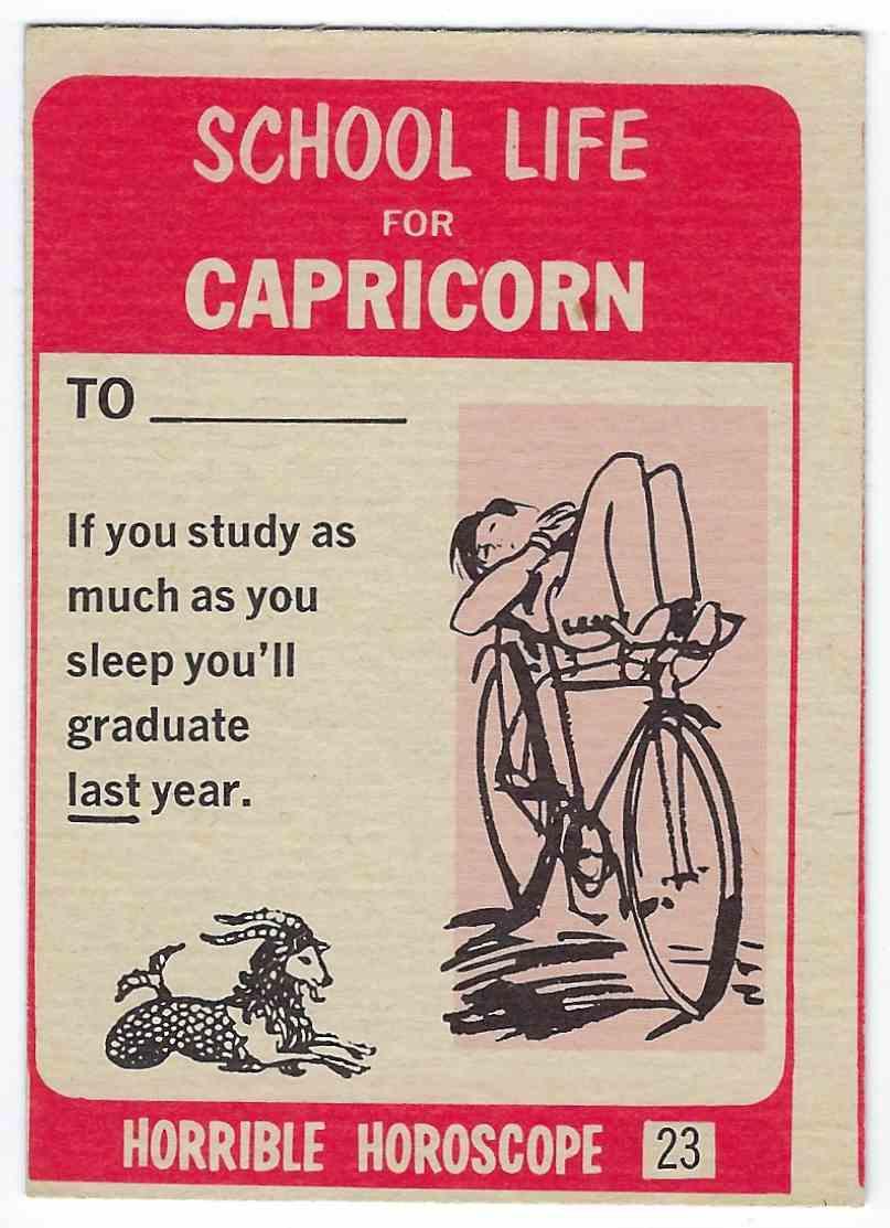 1972 Philly Gum Co. Horrible Horoscope Capricorn - Take Up Painting #23 card back image