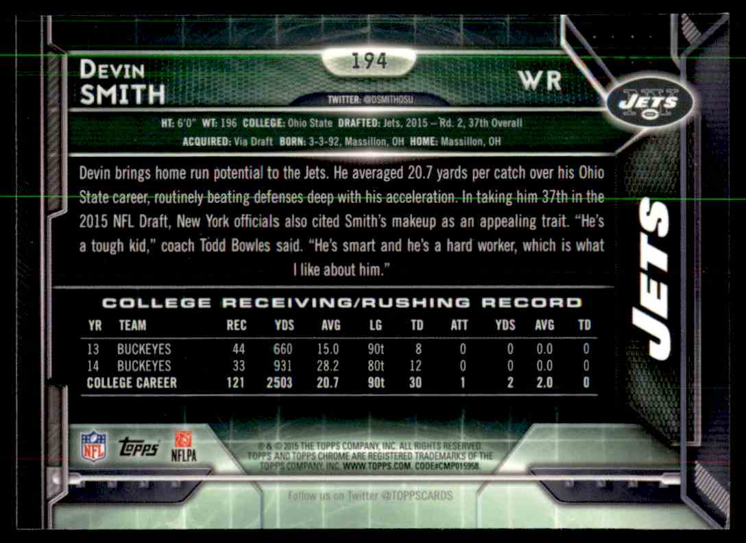 2015 Topps Chrome Refractor Devin Smith #194 card back image