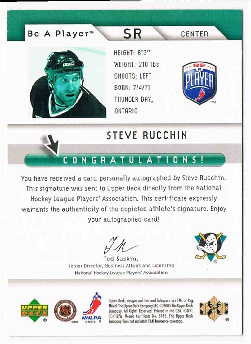 2005-06 Upper Deck Be A Player Signatures Steve Rucchin #SR card back image