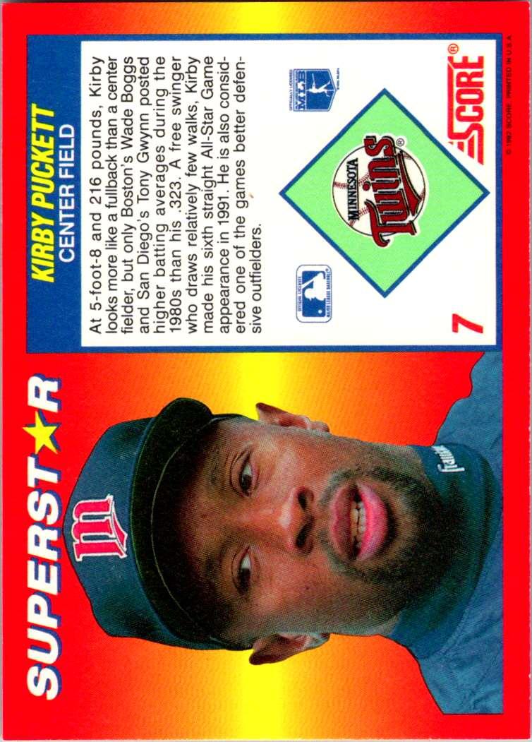 1992 Score 100 Superstars Kirby Puckett #7 card back image
