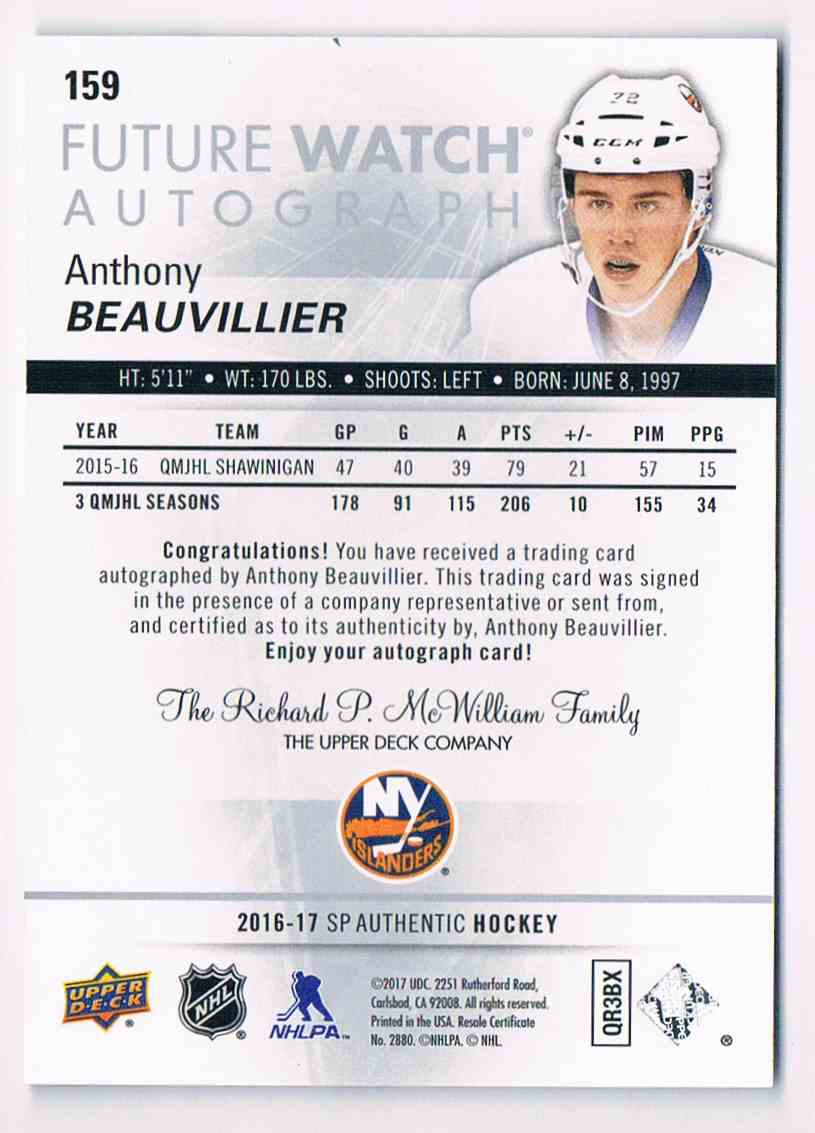 2016-17 Upper Deck SP Authentic Future Watch Anthony Beauvillier #159 card back image