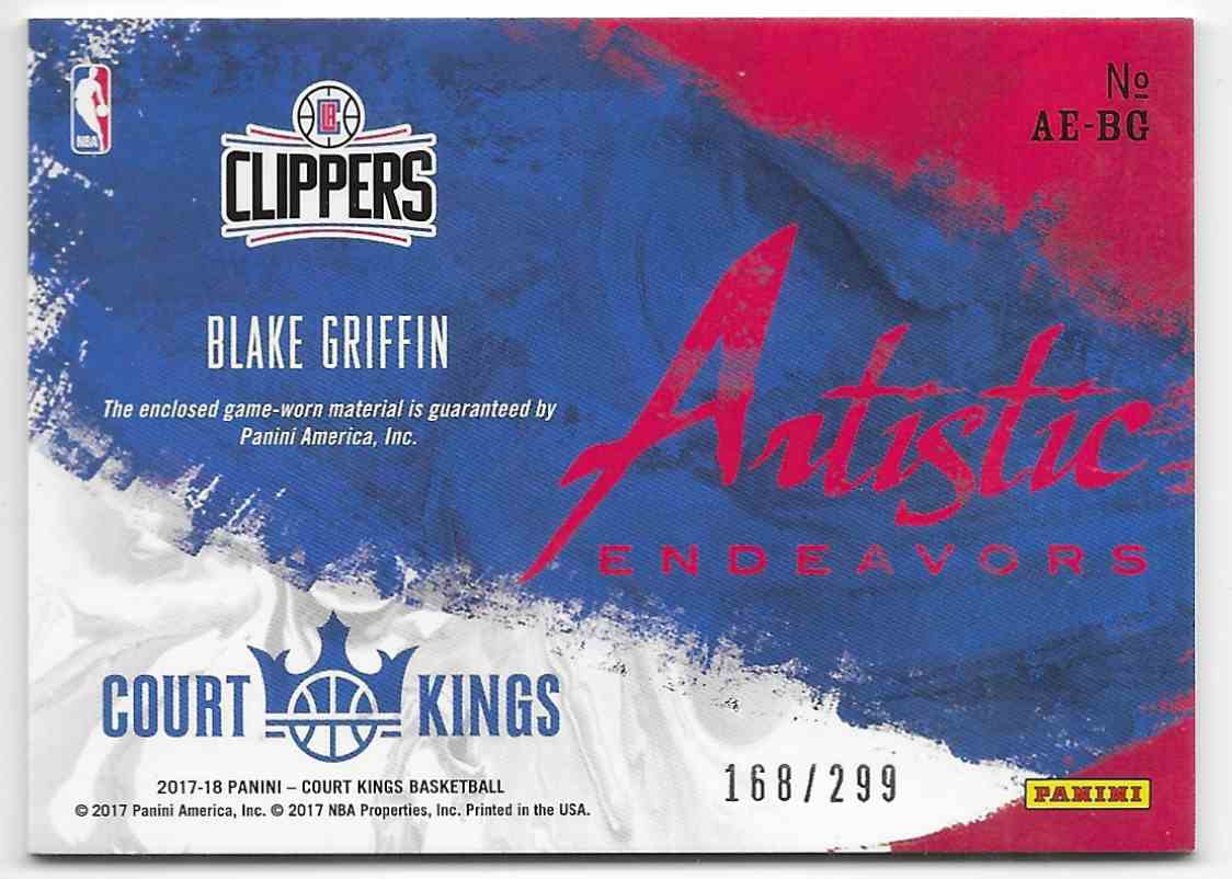 2017-18 Panini Court Kings Artistic Endeavors Blake Griffin #AE-BG card back image