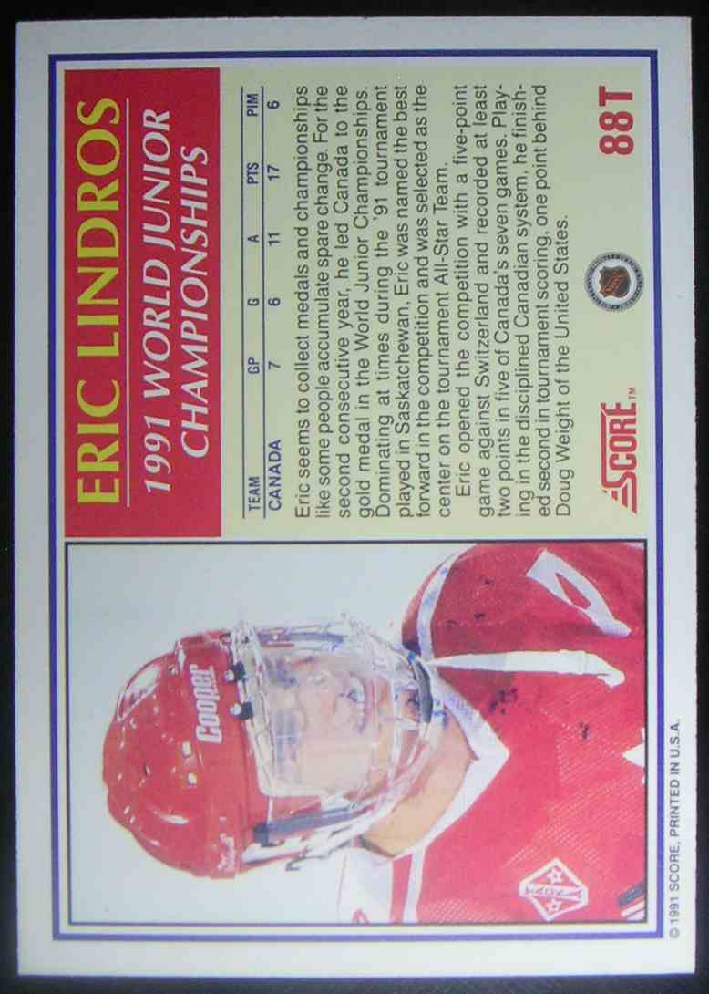 1991-92 Score Rookie And Traded Eric Lindros #88T card back image