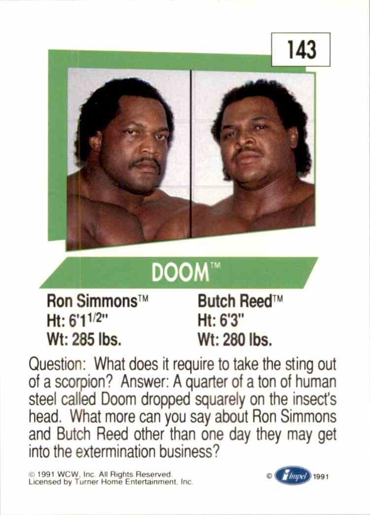 1991 Wcw Doom #143 card back image