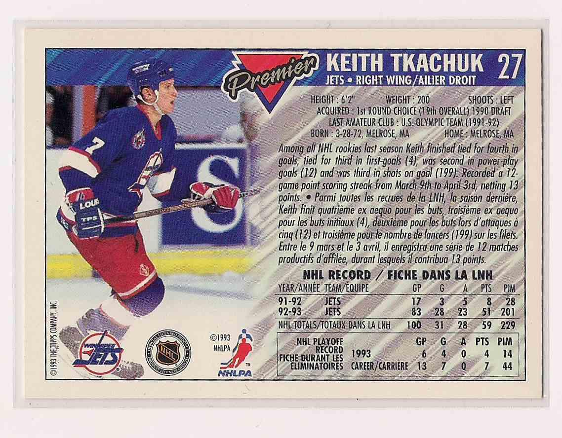 1993-94 OPC O-Pee-Chee Premier Gold Keith Tkachuk #27 card back image