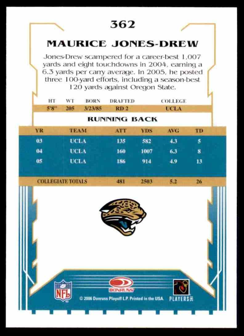2006 Score Maurice Drew RC #362 card back image