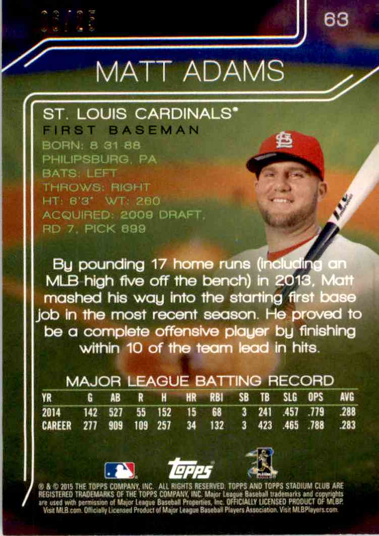 2015 Topps Stadium Club Foilboard Matt Adams #63 card back image