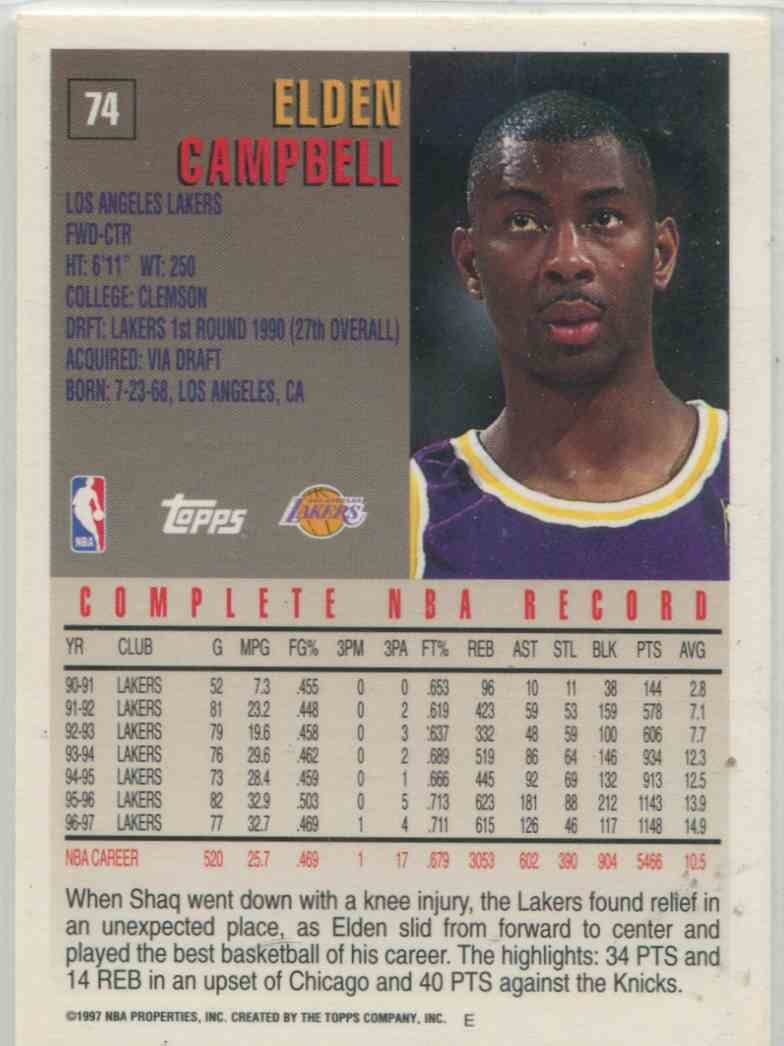 1997 98 Topps Elden Campbell 74 on Kronozio
